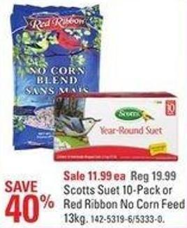 Scotts Suet 10-pack or Red Ribbon No Corn Feed 13kg