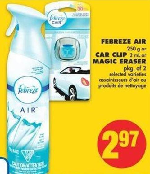 Febreze Air - 250 G Or Car Clip - 2 Ml Or Magic Eraser - Pkg Of 2