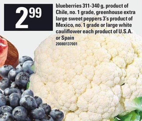 Blueberries 311-340 G - Greenhouse Extra Large Sweet Peppers 3's - Large White Cauliflower Each