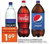 Coca-cola or Pepsi Soft Drinks 2 L or Dasani Water 1.5 L