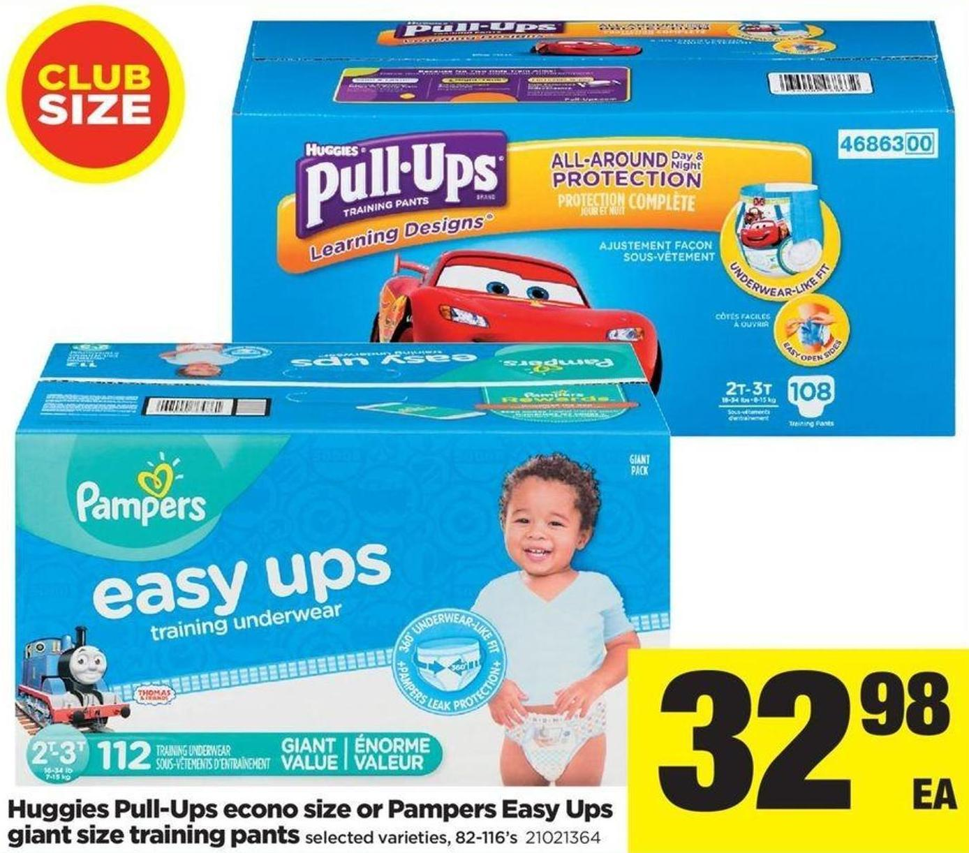 Huggies Pull-ups Econo Size Or Pampers Easy Ups Giant Size Training Pants - 82-116's