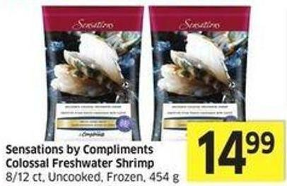 Sensations By Compliments Colossal Freshwater Shrimp 8/12 Ct - Uncooked - Frozen - 454 g