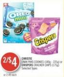 Christie Snak Paks Cookies (180g - 225g) or Crispers Cracker Chips (175g)