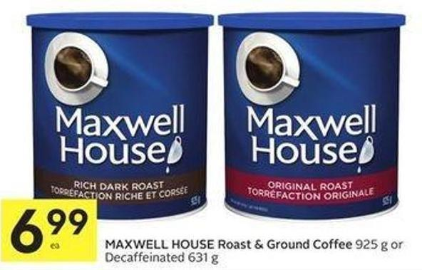 Maxwell House Roast & Ground Coffee 925 g or Decaffeinated 631 g