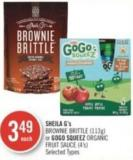Sheila G's Brownie Brittle (113g) or Gogo Squeez Organic Fruit Sauce (4's)