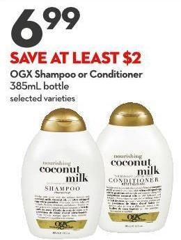 Ogx Shampoo or Conditioner 385ml Bottle