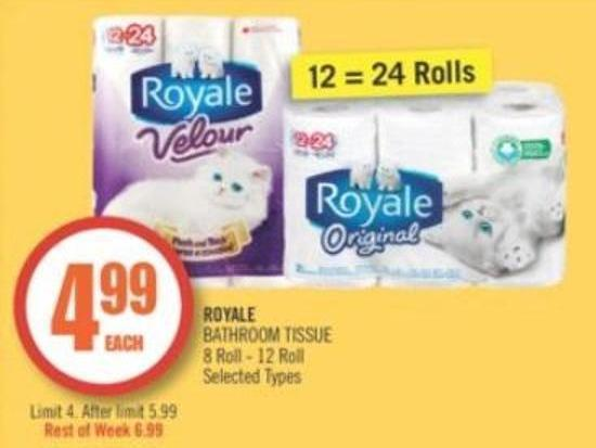 Royale Bathroom Tissue 8 Roll - 12 Roll