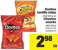 Doritos Tortilla Chips - 230/255 g Or Cheetos Snacks - 280-310 g