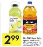 Allen's Low Acid Apple Juice 1.89 L or Compliments Lemonade 3.78 L