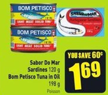 Sabor Do Mar Sardines 120 g Bom Petisco Tuna In Oil 198 g