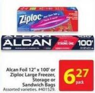 Alcan Foil 12in X 100' or Ziploc Large Freezer Storage or Sandwich Bags