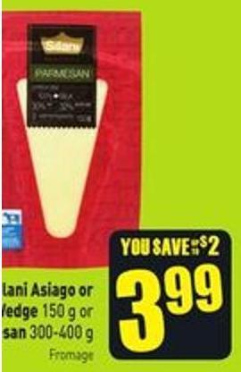 Silani Asiago or Parmesan Wedge 150 g or Grated Parmesan 300-400 g