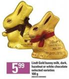 Lindt Gold Bunny Milk - Dark - Hazelnut Or White Chocolate - 100 G