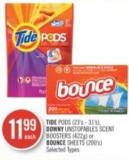 Tide PODS (23's - 31's) - Downy Unstopables Scent Boosters (422g) or Bounce Sheets (200's)