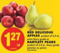 Red Delicious Apples or Bartlett Pears