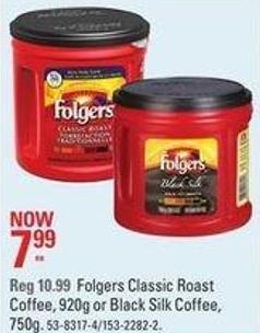 Folgers Classic Roast Coffee - 920g or Black Silk Coffee - 750g