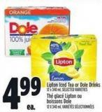Lipton Iced Tea Or Dole Drinks 12 X 340 ml