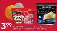 Chapman's Premium Ice Cream - Frozen Yogurt or Sorbet 2 L or No Sugar Added Ice Cream 1 L