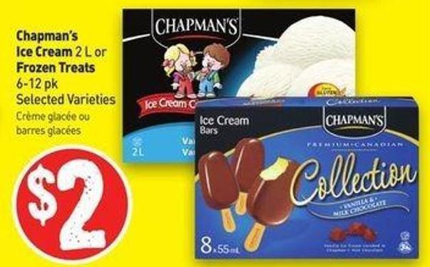 Chapman's Ice Cream 2 L or Frozen Treats 6-12 Pk