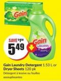 Gain Laundry Detergent 1.53 L or Dryer Sheets 120 Pk