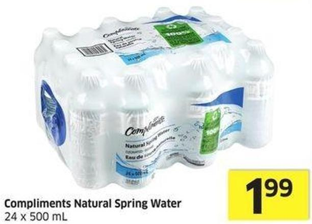 Compliments Natural Spring Water 24 X 500 mL