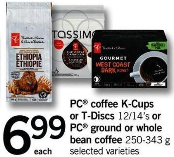 PC Coffee K-cups Or T-discs - 12/14's Or PC Ground Or Whole Bean Coffee - 250-343 G