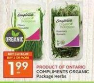 Compliments Organic Package Herbs