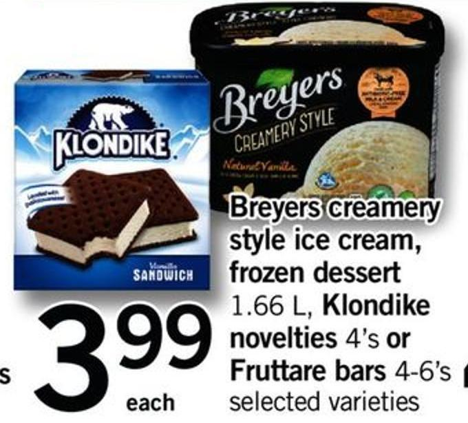 Breyers Creamery Style Ice Cream - Frozen Dessert - 1.66 L - Klondike Novelties - 4's Or Fruttare Bars - 4-6's