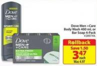 Dove Men + Care Body Wash 400 mL or Bar Soap 4 Pack