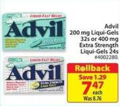 Advil 200 Mg Liqui-gels 32 or 400 Mg Extra Strength Liqui-gels 24s