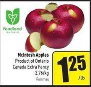 Mcintosh Apples Product of Ontario Canada Extra Fancy 2.76/kg
