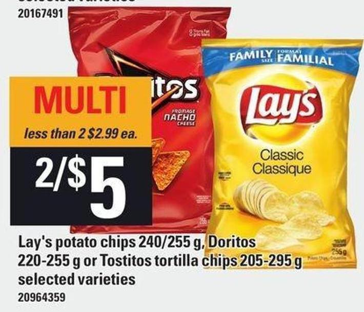 Lay's Potato Chips 240/255 G - Doritos 220-255 G Or Tostitos Tortilla Chips 205-295 G