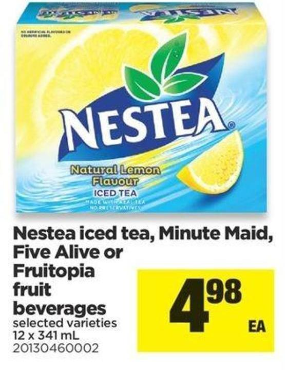 Nestea Iced Tea - Minute Maid - Five Alive Or Fruitopia Fruit Beverages 12 X 341 Ml