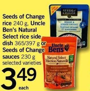 Seeds Of Change Rice - 240 G - Uncle Ben's Natural Select Rice Side Dish - 365/397 G Or Seeds Of Change Sauces - 230 G