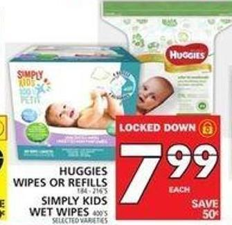 Huggies Wipes Or Refills Or Simply Kids Wet Wipes