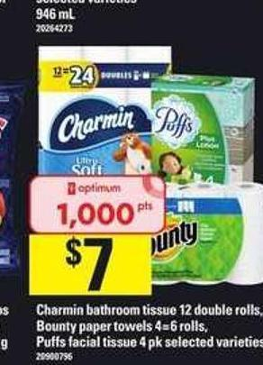 Charmin Bathroom Tissue - 12 Double Rolls - Bounty Paper Towels - 4=6 Rolls - Puffs Facial Tissue - 4 Pk