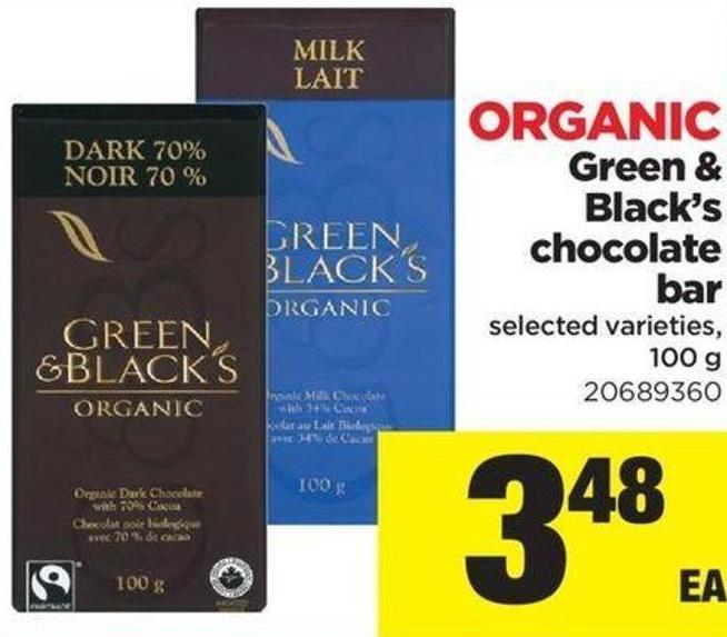 Organic Green & Black's Chocolate Bar - 100 g