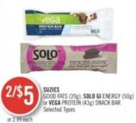 Suzies Good Fats (30 G) - Solo Gi Energy (50 G) or Vega Protein (43 G) Snack Bar