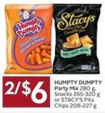 Humpty Dumpty Party Mix 280 g - Snacks 265-320 g or Stacy's Pita Chips 208-227 g
