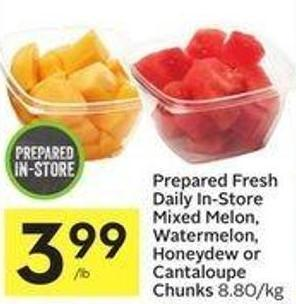Prepared Fresh Daily In-store Mixed Melon - Watermelon - Honeydew or Cantaloupe Chunks