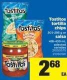 Tostitos Tortilla Chips - 205-295 g Or Salsa - 418-430 mL