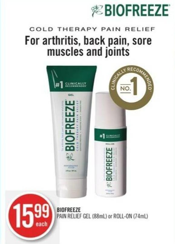 Biofreeze Pain Relief Gel (88ml) or Roll-on (74ml)