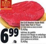 Red Grill Boneless Inside Blade Steak Value Pack Or Roast