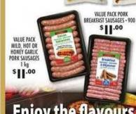 Value Pack Mild - Hot Or Honey Garlic Pork Sausages - 1 Kg