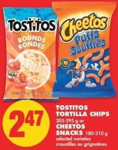Tostitos Tortilla Chips 205-295 G Or Cheetos Snacks 180-310 G