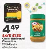 Cracker Barrel Natural Cheese Slices 220-240g Pkg