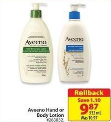 Aveeno Hand or Body Lotion