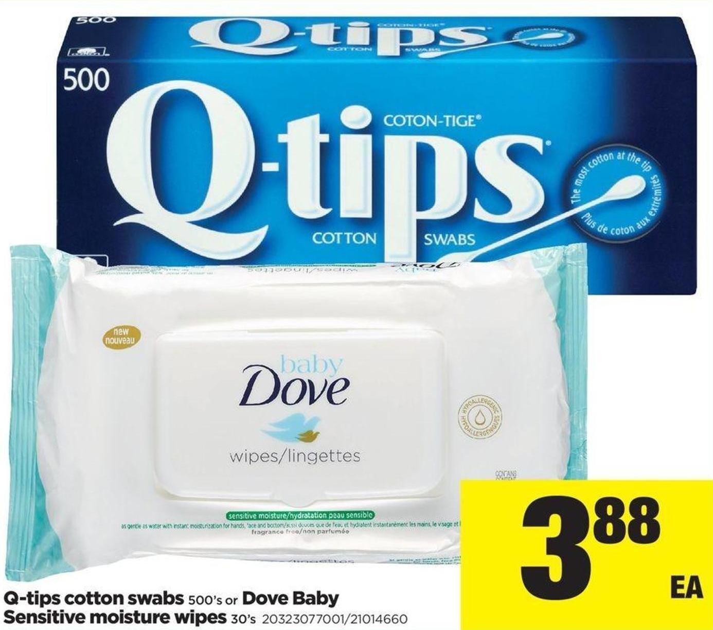 Q-tips Cotton Swabs - 500's Or Dove Baby Sensitive Moisture Wipes - 30's