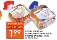Compliments or Compliments Balance Hot Dog or Burger Buns