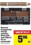 Rimmel Exaggerate Felt Tip Eyeliner - Brow This Way Filler & Fix Or Pommade